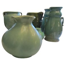 Redwing Pottery Matte Green Vase Marked 777
