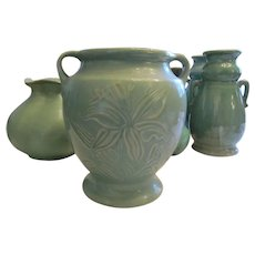 USA Shawnee Vintage Matte Green Pottery Cookie Jar