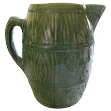 Large Green Glazed Earthenware Pottery Pitcher