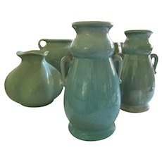 Tall Turquoise Glazed Pottery Vase Made In Japan
