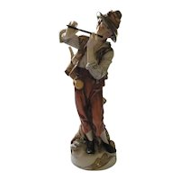 Young Shepherd Boy Playing Flute Large Figurine