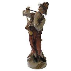 Young Shepherd Boy Playing Flute Large Figurine