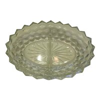 American Fostoria Crystal 2 Section Divided Serving Plate
