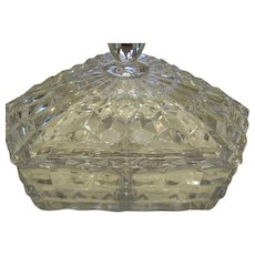 """American Fostoria Crystal 6"""" 3 Corner Divided Candy Condiment Serving Dish With Lid"""