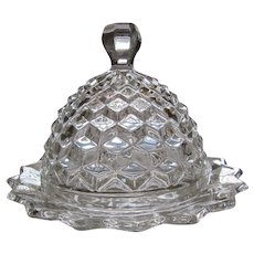 """American Fostoria Crystal 7.5"""" Round Dome Butter Dish"""