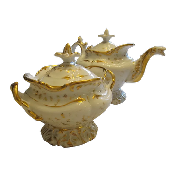 LARGE Sized Meissen White Gilt Gold Creamer And Sugar Bowl Set Rococo Style