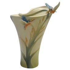 Franz Collection Porcelain Large Kingfisher Bird Vase