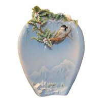 Franz Collection Porcelain Holiday Beginnings Chickadee Large Vase