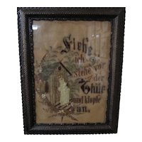 Amazing German Needlepoint Needlework Sampler Jesus At Door 'Behold I Stand'