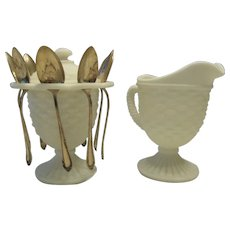 Imperial Glass White Satin Frosted Glass Basketweave Pattern Creamer and Sugar Bowl