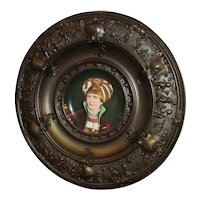 Embossed Cherubs Copper Frame European Prince Royalty Porcelain Plate