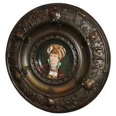 Embossed Cherubs Copper Frame European Prince Royalty Porcelain Plate