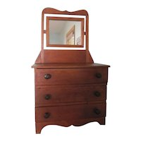 Vintage 3 Drawer Wooden Childs Toy Doll Dresser With Mirror