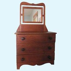 Vintage 3 Drawer Wooden Childs Toy Doll Dresser With Mirror