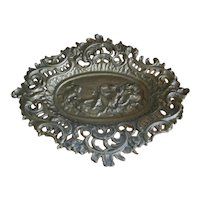 Vintage Molded Cast Iron Art Nouveau Dresser Pin Tray
