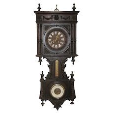 Large Walnut Victorian Style Barometer Thermometer Wall Clock