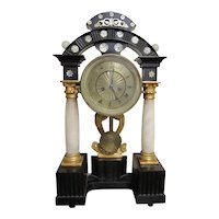 1800's Ebonized Gilt Alabaster Empire 19th Century Mantle Clock