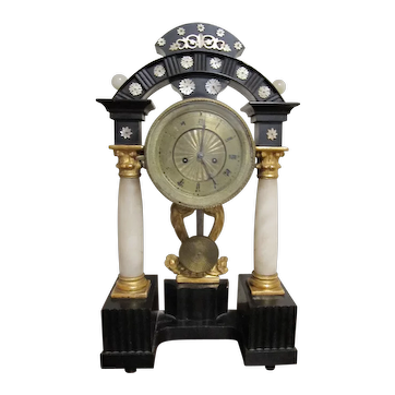 Antique 1800's Ebonized Gilt Alabaster Empire 19th Century Mantle Clock