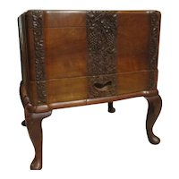 Vintage Detail Carved Walnut Chest Sewing Box Cabriole Legs