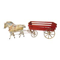 20th Century Gibbs Mfg Wood Paper Litho 2 Horse Drawn Wagon Mechanical Pull Toy