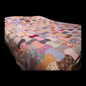 Vintage Machine Stitched Quilt