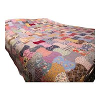 Vintage Multi Colored Machine Stitched Colorful Quilt