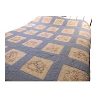 Vintage Hand Stitched Embroidered Youth Quilt