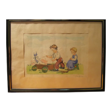 Beautiful Vintage Signed Hand Colored Whimsical Childrens Etching Print - Germany