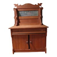 Vintage One Drawer Wooden Childs Toy Doll Dresser Chest Buffet With Mirror