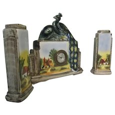 Beautiful Peacock Made In France Art Deco Style French Clock With Vase Set