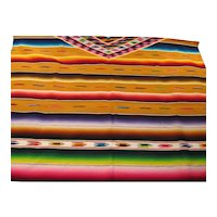 Colorful Vintage 1920's Mexican Sarape Eye Dazzler Blanket