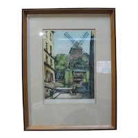 Vintage Hand Painted Watercolor Moulin de la Galette Paris France