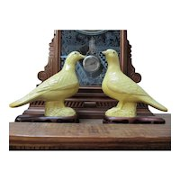 Pair Of Vintage Signed Chinese Glazed Pigeon Birds On Fitted Wood Base