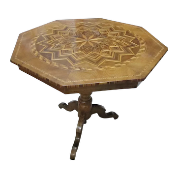 Marquetry Walnut Octagonal Tripod Signed European Center Table