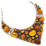 Genuine Amber and Sterling Silver Vintage Bib Necklace