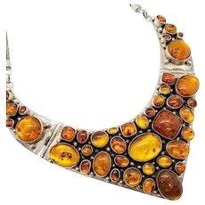 Genuine Amber and Sterling Silver Vintage Bib Necklace