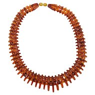 Unique Rare Vintage Faceted Amber Necklace Genuine Amber