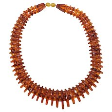 Unique Rare Vintage Faceted Amber Necklace Genuine Amber