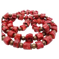 Vintage Genuine Coral and Wood Bead Necklace Major Statement