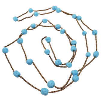 Vintage 1920s Flapper Necklace Bronze Chain & Czech Pressed Glass Beads
