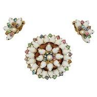 Vintage White Milk Glass Brooch & Earrings Set with Multi-color Rhinestones