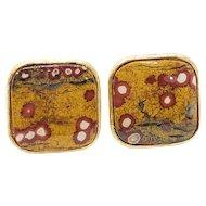 Vintage Harvey Avedon Cufflinks in 14k Gold Fill and Genuine Guadalupe Poppy Jasper