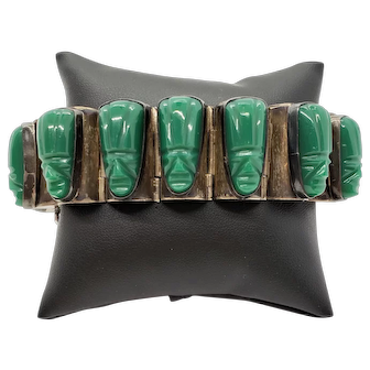 Vintage Mexican Green Onyx and Sterling Silver Bracelet