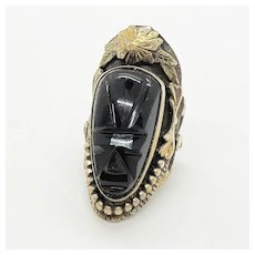 Vintage Mexican Sterling Silver & Onyx Mask Ring