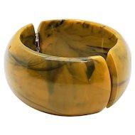 Vintage Lucite Caramel Marbled Hinged Bangle Bracelet