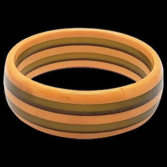 Bakelite Green & Butterscotch Stripe Bangle Bracelet