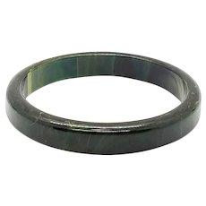Bakelite Marbled Green Yellow Swirl Bangle Bracelet