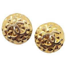 Vintage Authentic Chanel Button Pierced Earrings