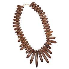 Vintage Wooden Bead Statement Necklace
