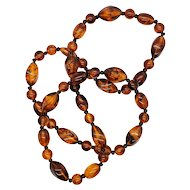 Vintage Lucite Rootbeer Swirl Beaded Necklace